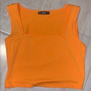 Neon Orange Square Crop Top